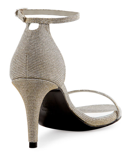 Naked Shimmery Low-Heel Sandal, Silver