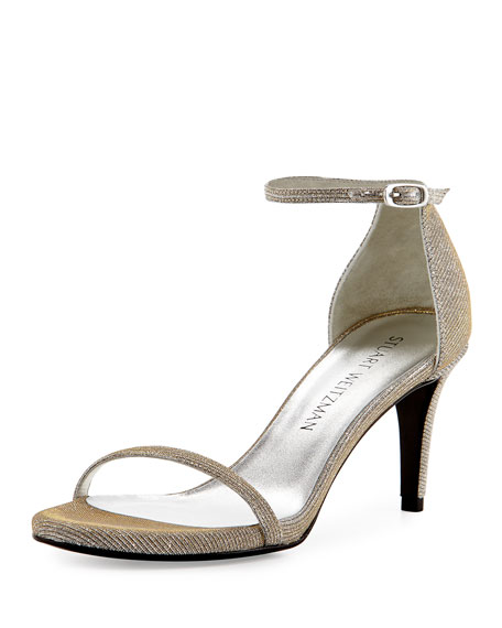Stuart Weitzman Naked Shimmery Low-Heel Sandal, Silver
