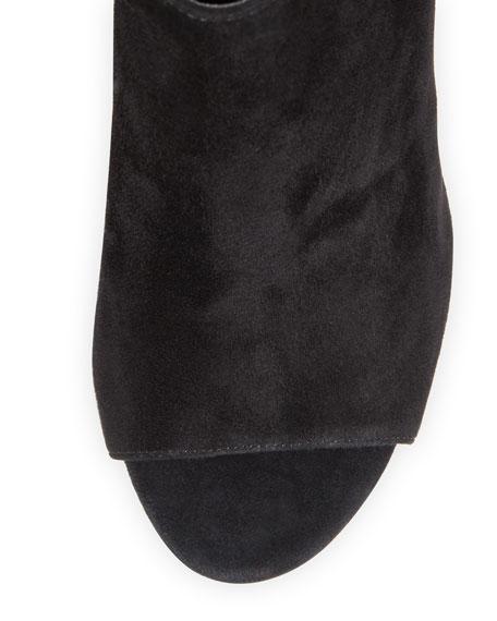 Gigi Suede Peep-Toe Sandal, Black