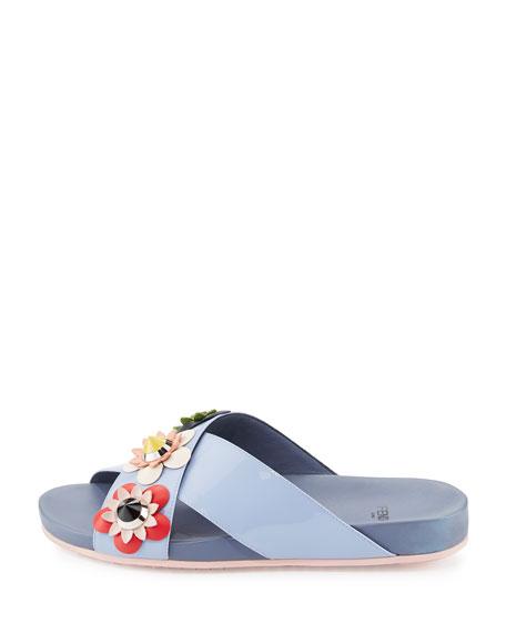 Flowerland Crisscross Sport Slide Sandal, Lilac Gray/Multi