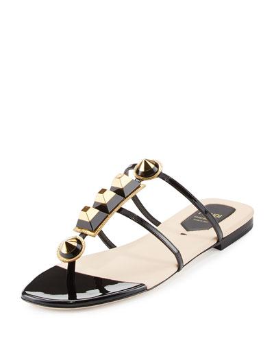dfb56d4d6d2 Fendi Gold Edition Studded Patent Thong Sandal