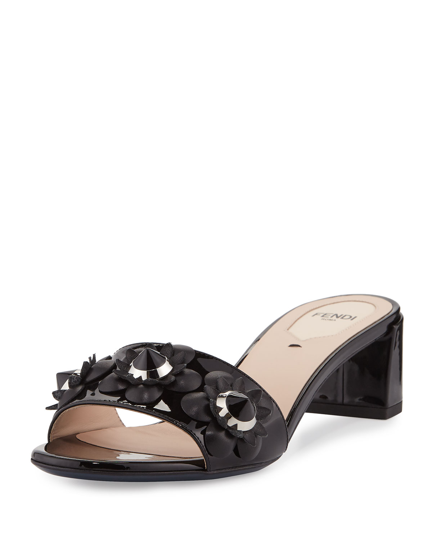 f16a6ea01bda Fendi Flowerland Patent Slide Sandal