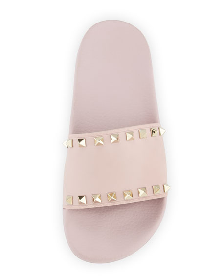 Rockstud Pool Slide Sandals, Rose