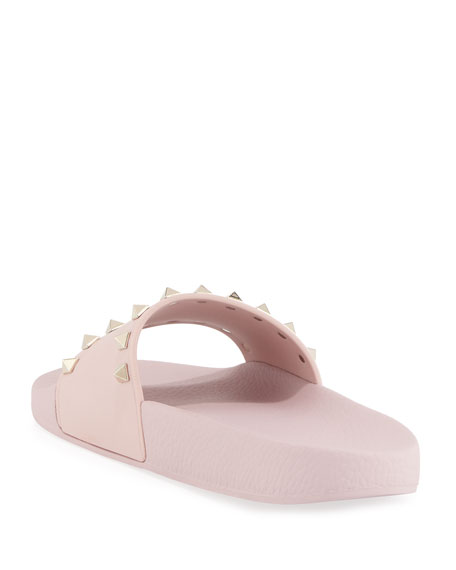 Rockstud Pool Slide Sandal, Rose