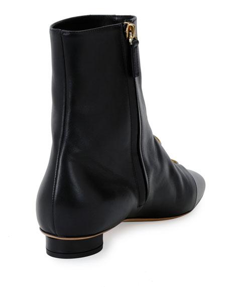 Bit Hoop Leather Booties, Black
