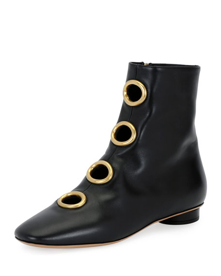 Valentino Garavani Bit Hoop Leather Bootie, Black