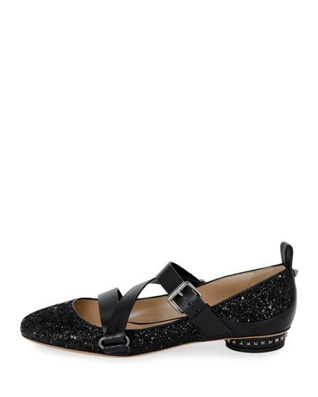 Rockstud Strappy Glitter Ballet Flat, Black