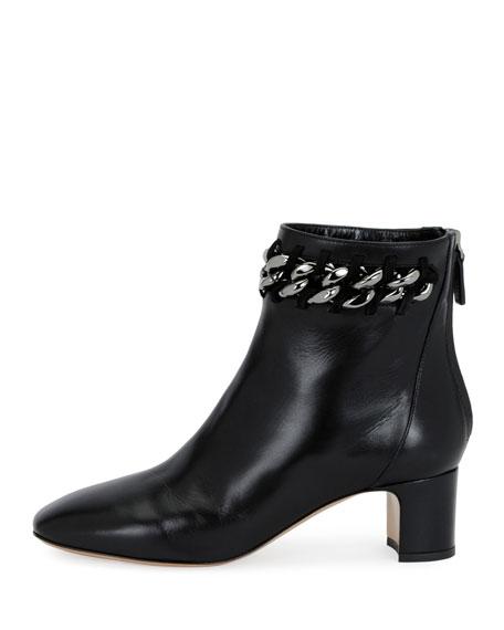 Chain-Trim Leather Bootie, Black
