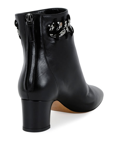 Chain-Trim Leather Bootie, Black