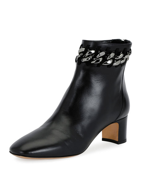 Valentino Garavani Chain-Trim Leather Bootie, Black