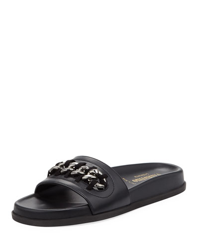 Chain Flat Leather Slide Sandal, Black