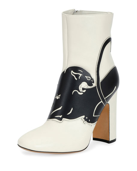 Valentino Garavani Panther Leather 90mm Bootie, White