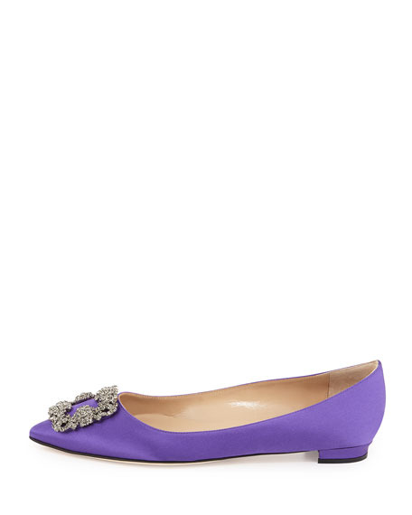 Hangisi Crystal-Buckle Satin Flat, Purple