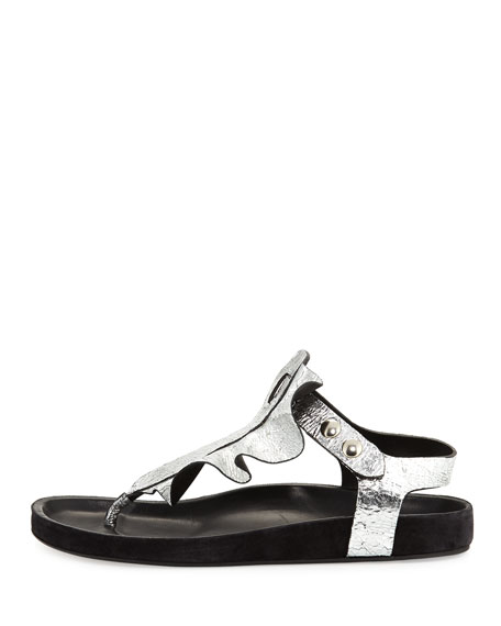 Leakey Ruffled T-Strap Sandal, Silver
