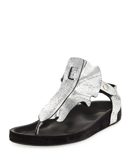 Isabel Marant Leakey Ruffled T-Strap Sandal, Silver
