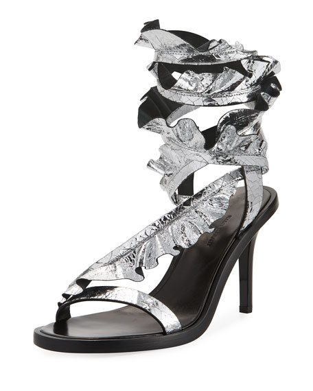 Isabel Marant Ansel Ruffled Ankle-Wrap Sandal, Silver