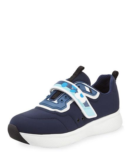 Prada Grip-Strap Neoprene Sneaker, Navy