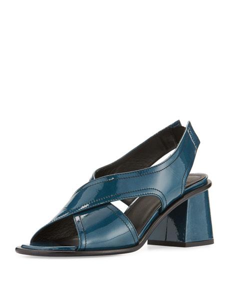 Tomas Maier Patent Crisscross Chunky-Heel Sandal, Peacock