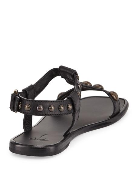 Dome-Studded Leather Sandal, Black