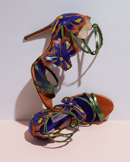 Lolita Floral Strappy 100mm Sandal, Canyon/Mix