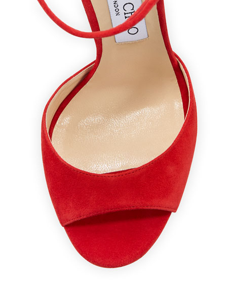 Mayner Suede 130mm Sandal, Red/Clear