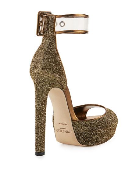Mayner Metallic Fabric 130mm Sandal, Gold/Clear
