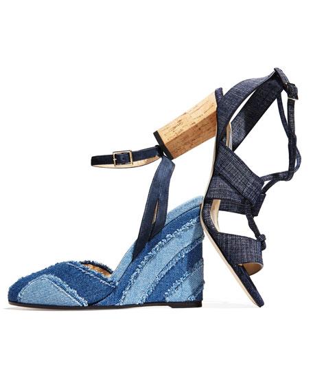 Margo Crisscross 80mm Sandal, Denim Blue