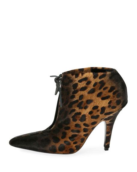 Leopard-Print Ankle-Tie 105mm Booties, Black/Multi