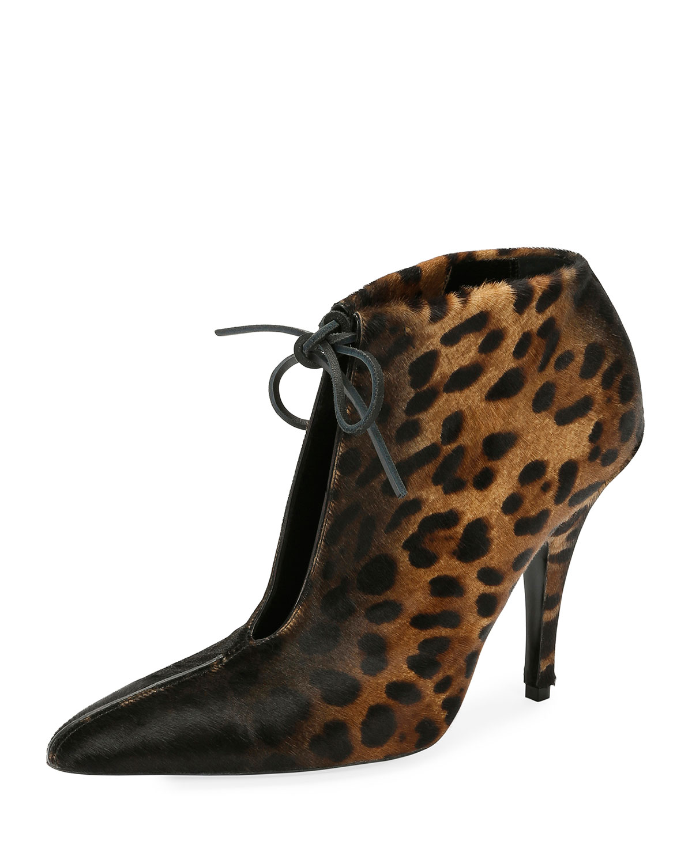 25bb16ce7031b TOM FORD Leopard-Print Ankle-Tie 105mm Booties, Black/Multi | Neiman ...