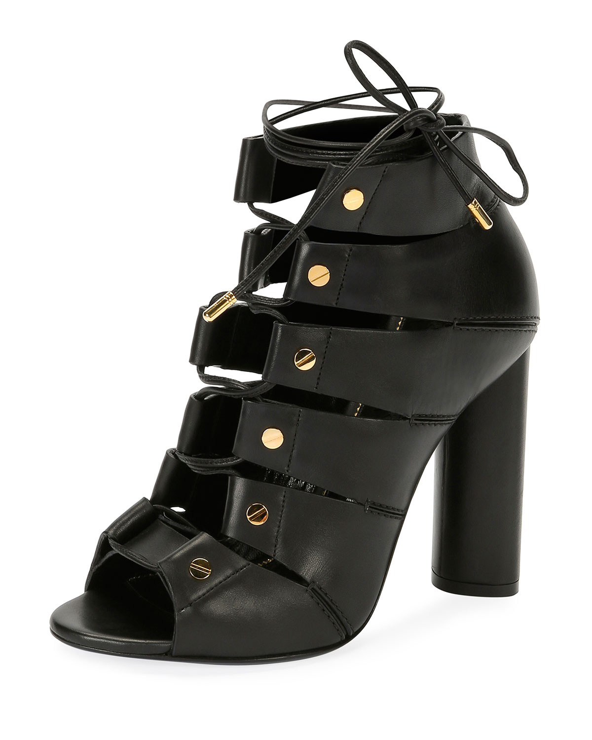 1bf481ef701 TOM FORD Lace-Up Leather Open-Toe 105mm Booties