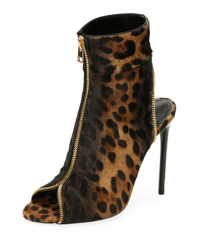 Leopard-Print Zip Peep-Toe Bootie, Black