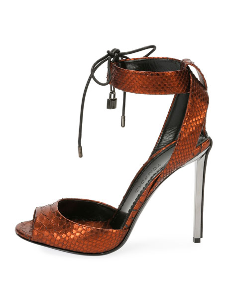 Metallic Python 105mm Padlock Sandals, Rust
