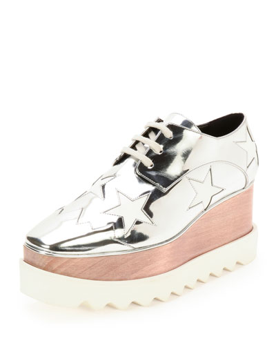 Elyse Stars Faux-Leather Platform Oxford, Indium/White