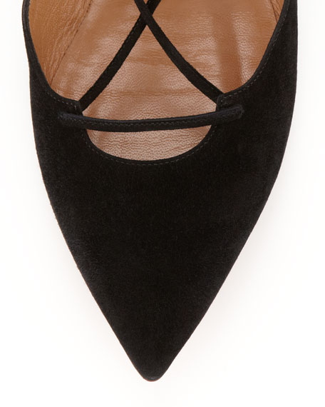 Belgravia Lattice Suede Flat, Black