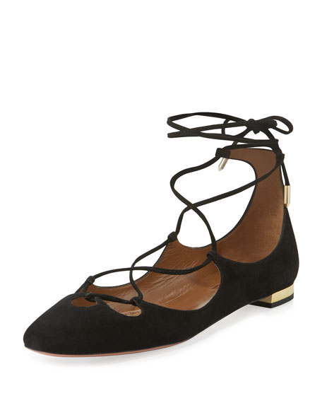 Aquazzura Dancer Suede Lace-Up Flat, Black