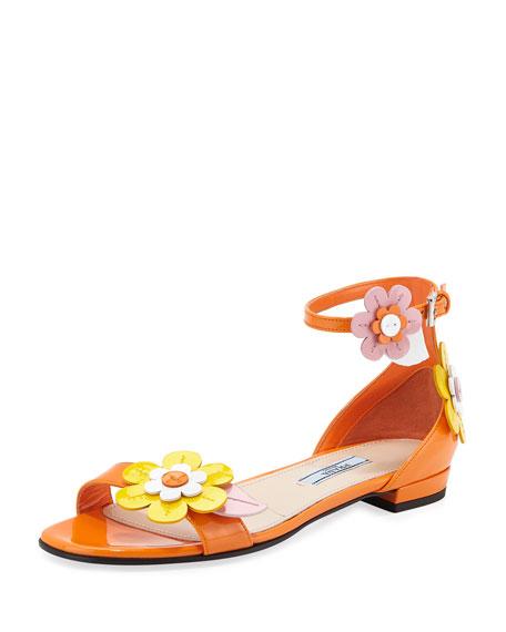 Prada Floral Patent Flat Sandal, Orange