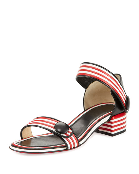 Christian Louboutin Striped Ankle-Wrap City Sandal, Black