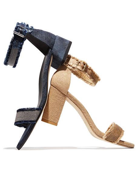Nudistchains Denim Ankle-Wrap Sandal, Navy