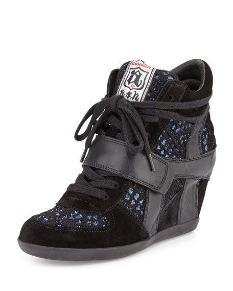 Ash Bowie Sequined Hidden-Wedge Sneaker, Black/Blue