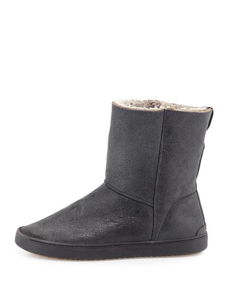 Kali Shearling Fur Sneaker Boot, Black