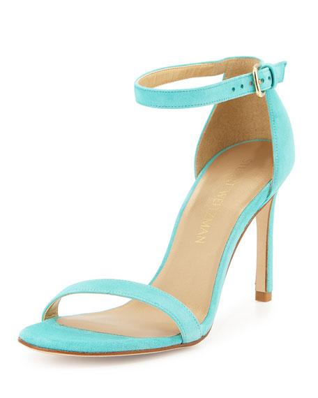 Stuart Weitzman Walkway Suede Ankle-Strap Sandals, Island