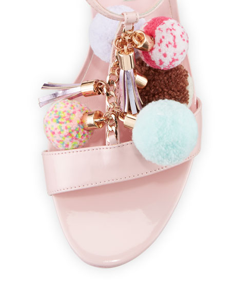 Juno Pompom Mid-Heel Sandal, Pink