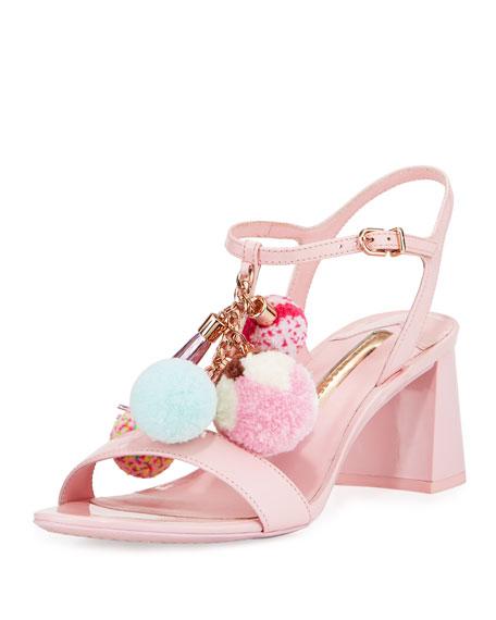 Sophia Webster Juno Pompom Mid-Heel Sandal, Pink