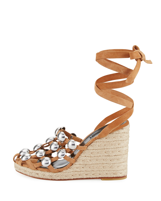 76aaf3828ee8 Alexander Wang Taylor Clay Suede Wrap Wedge Sandal, Taupe   Neiman Marcus