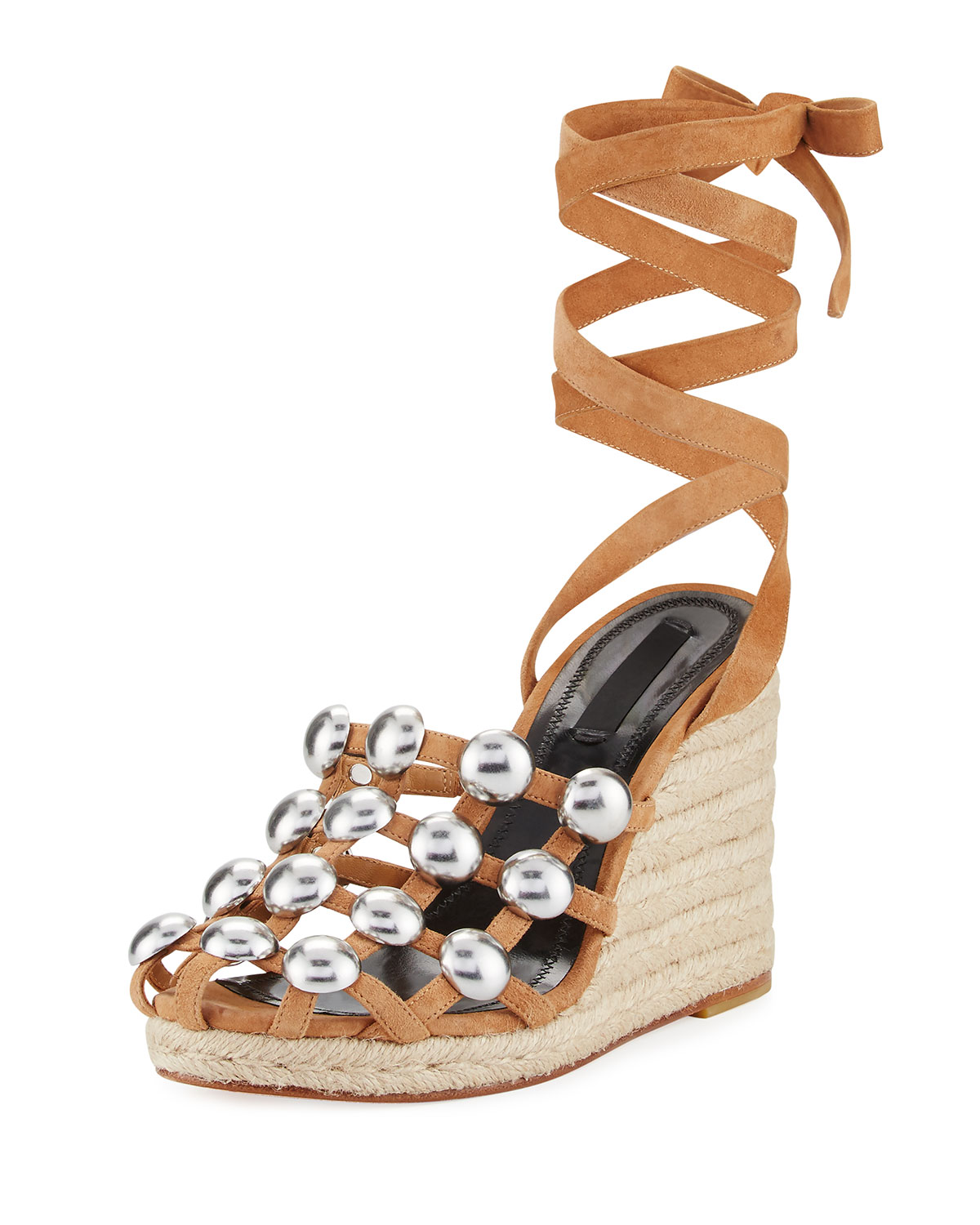 a610f2f07617 Alexander Wang Taylor Clay Suede Wrap Wedge Sandal, Taupe   Neiman ...