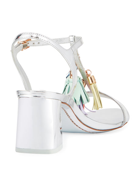 Juno Tassel Mid-Heel Sandal, Silver