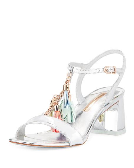 Sophia Webster Juno Tassel Mid-Heel Sandal, Silver