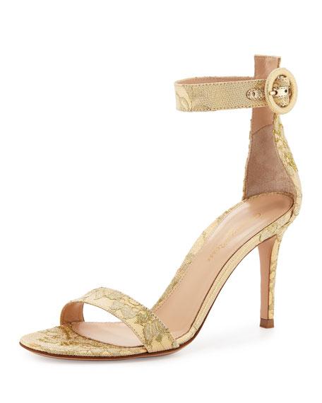 Gianvito Rossi Portofino Lace Ankle-Strap 85mm Sandal, Gold