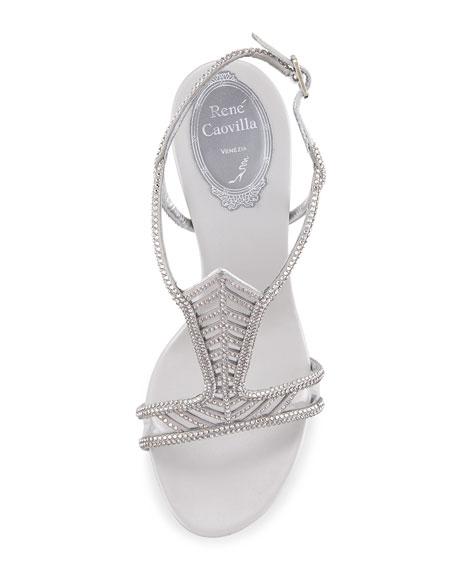 Crystal Chevron T-Strap 105mm Sandal, Silver