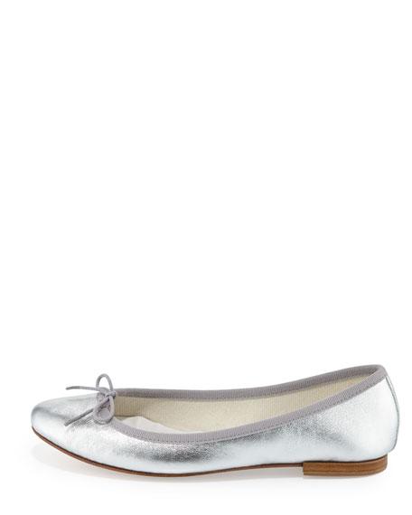 Cendrillon Metallic Leather Ballerina Flat, Silver (Argento)